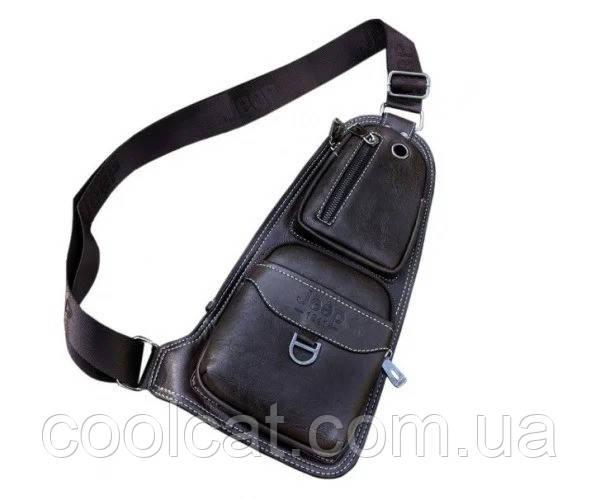Мужская сумка через плечо Jeep Buluo Bag 1941 + Наушники в Подарок! Черная (37х19х3 см)