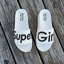 Super Girl белые на танкетке Шлепки резиновые тапочки на платформе тапки женские пляжные шльопанці білі, фото 2