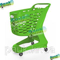 Пластиковая тележка покупателя 80 л Mini Basic 828х500х970 мм, пластиковая торговая корзина на колесах