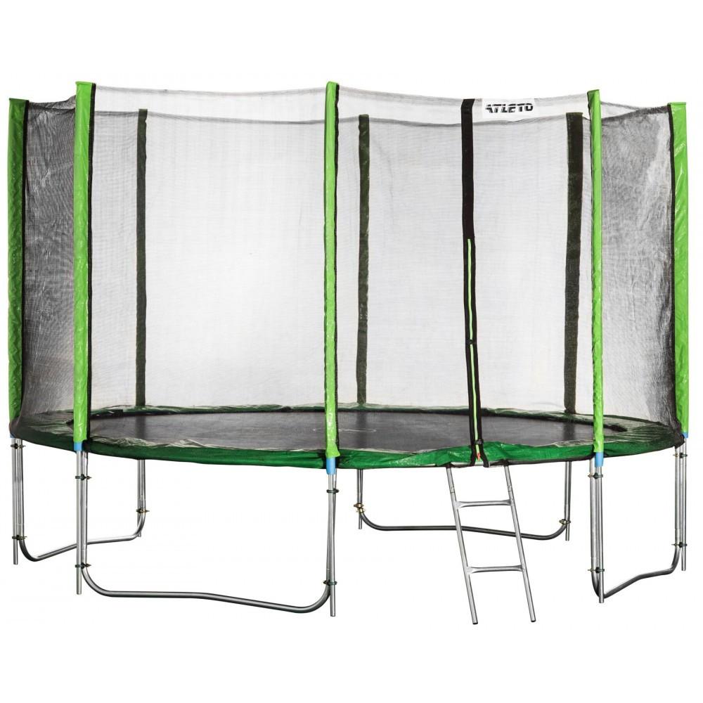 Батут спортивный Atleto 490 см с двойными ногами защитной сеткой для прыжков зеленый (12 опор сетки лестница)