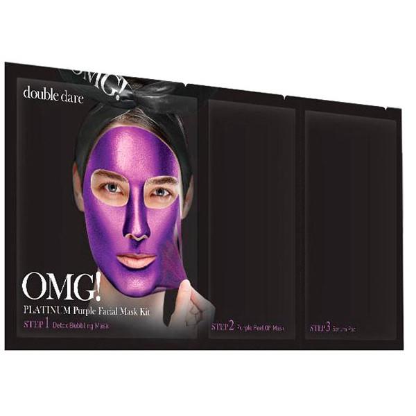 Трёхкомпонентный комплекс масок «Глубокое увлажнение и релакс Double Dare OMG! Platinum Purple Facial Mask Kit