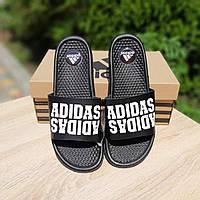 Мужские черные Тапки в стиле Adidas, фото 1