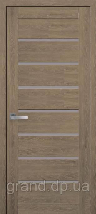 Дверь Леона Новый стиль ПВХ ULTRA с матовым стеклом, цвет дуб медовый