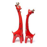 Статуэтка жирафов из фарфора красная GR3