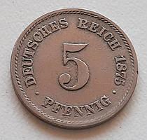 Германия 5 пфеннигов 1875 G