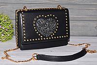 Женская черная сумочка небольшого размера, фото 1
