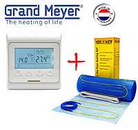 Теплый пол Grand Meyer 300Вт/2м² нагревательный мат EcoNG150 с программируемым терморегулятором E 51