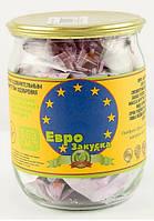 Скляна банка з сувенірними купюрами Грошовий подарунок Євро закуска