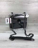 Cумка Селена силиконовая с косметичкой черная рептилия (никель)