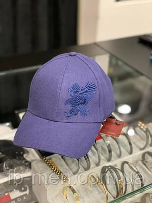 Кепка Stefano Ricci синего цвета принт орел|Классическая мужская кепка Стефано Риччи с орлом