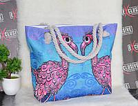 Женская пляжная сумка Розовый фламинго, фото 1