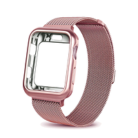 Ремешок BeWatch Milanese Loop для Apple Watch Series 5/4/3/2/1 42mm/44mm + силиконовый чехол Rose Gold (Amaz0013)