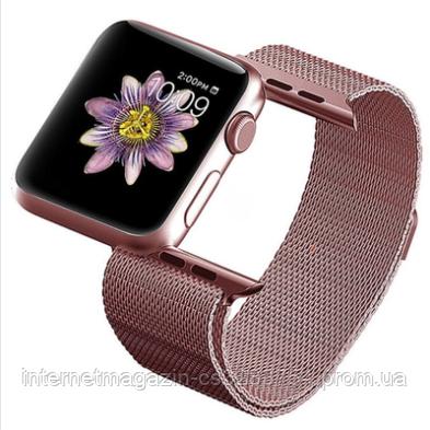 Ремешок BeWatch Миланской петлей для Apple Watch Series 5/4/3/2/1 42mm/44mm + силиконовый чехол Розово-золотой (Amaz0014)