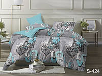 Качественный семейный набор постельного белья люкс-сатин LoVe S424
