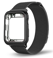 Ремешок BeWatch Milanese Loop для Apple Watch Series 5/4/3/2/1 42mm/44mm + силиконовый чехол Black (Amaz0022)