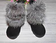 Замшевые угги с натуральным мехом лисы чернобурки, фото 1