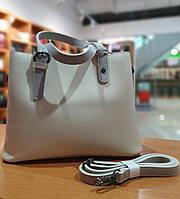 Жіноча сумка з якісної екошкіри , 30-22.5-12.5 см , колір молочний з сірими вставками