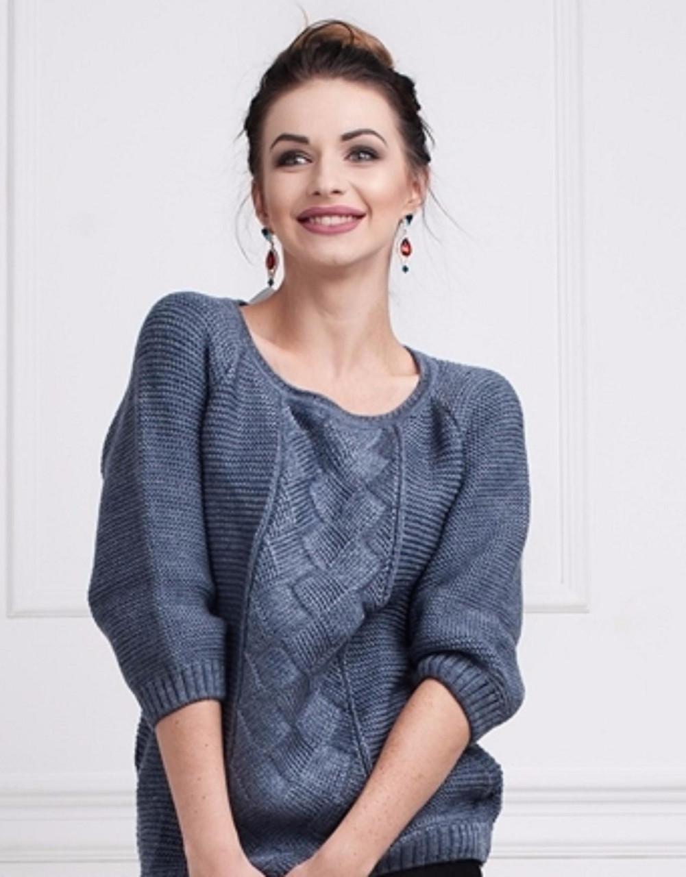 75b3bf6e4a9 Молодежный вязаный свитер с круглым вырезом декорирован лентой