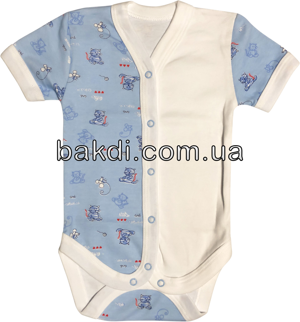 Дитяче літнє боді ріст 56 0-2 міс трикотажне інтерлок блакитне на хлопчика бодік з коротким рукавом для