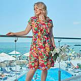 Летнее платье сарафан софт принт цветочный размер: 48-50, 52-54, 56-58, 60-62, фото 2
