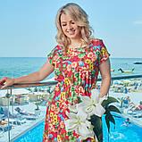 Летнее платье сарафан софт принт цветочный размер: 48-50, 52-54, 56-58, 60-62, фото 3