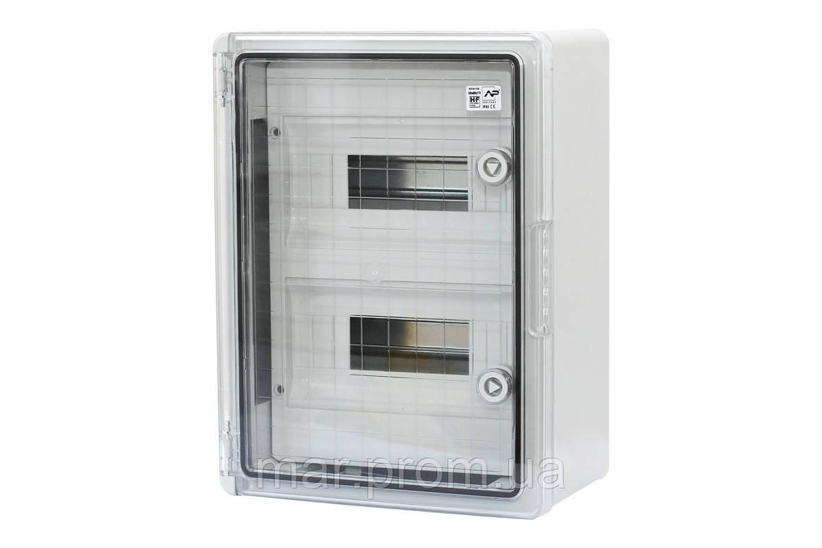 Шкаф ударопрочный модульный ABS 250х350х150, 8х2 модулей, с прозрачными дверями IP65