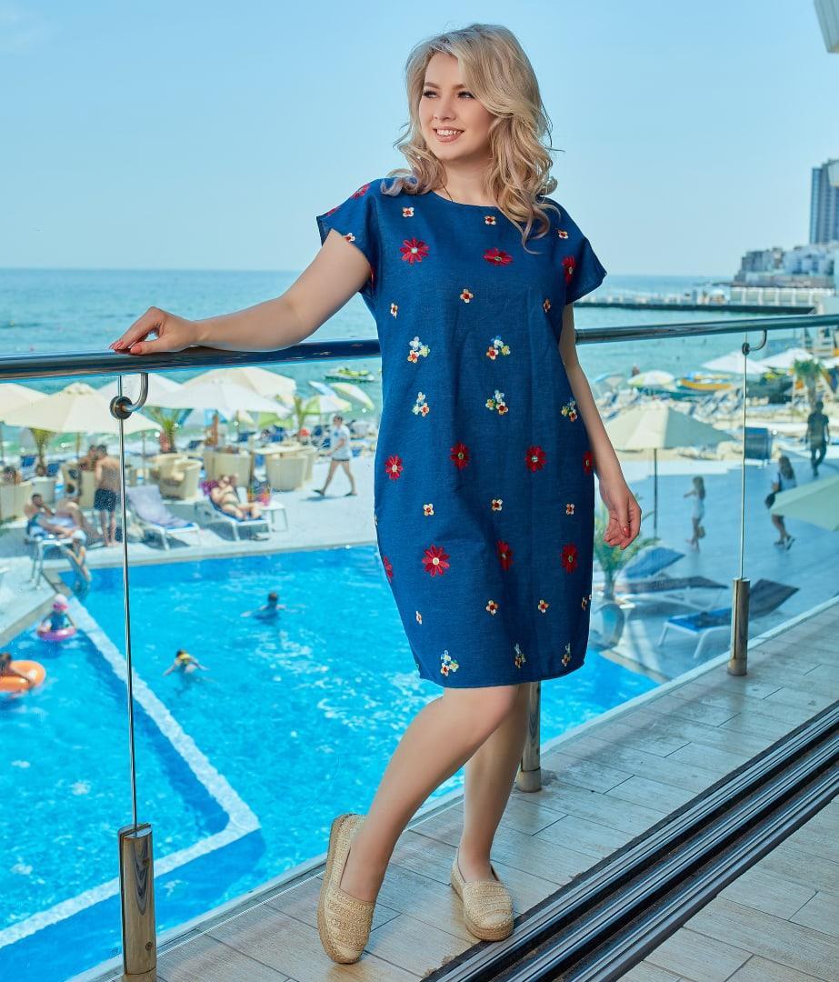 Летнее платье сарафан джинс с принтом размер: 48-50, 52-54, 56-58, 60-62