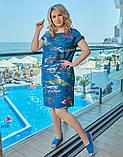 Летнее платье сарафан джинс с принтом размер: 48-50, 52-54, 56-58, 60-62, фото 3