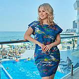 Летнее платье сарафан джинс с принтом размер: 48-50, 52-54, 56-58, 60-62, фото 2