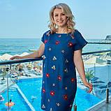 Летнее платье сарафан джинс с принтом размер: 48-50, 52-54, 56-58, 60-62, фото 4