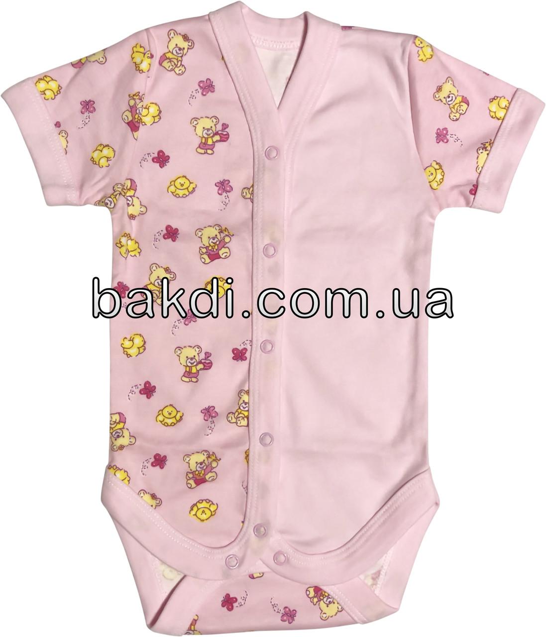 Дитяче літнє тонке боді зростання 56 0-2 міс інтерлок рожевий на дівчинку бодік з коротким рукавом літо для