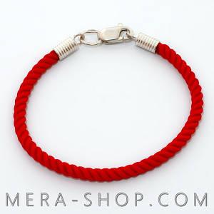 Красный шелковый браслет с серебряным замком (⌀3 мм, все размеры)