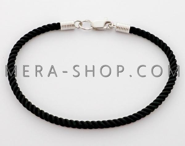 Черный шелковый браслет с серебряным замком (⌀3 мм, все размеры)