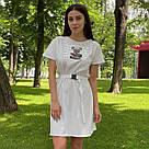 Сукня-футболка оверсайз з поясом на карабіні біле, фото 2