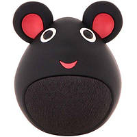 Детская портативная музыкальная колонка с блютуз мышь: bluetooth 5.0, 3 Вт, микрофон, черная