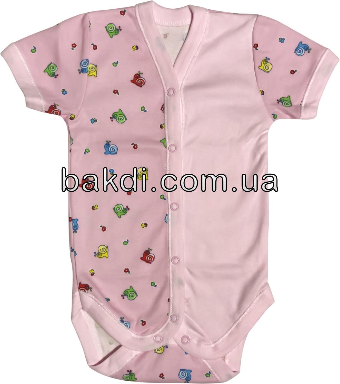 Дитяче літнє боді ріст 68 3-6 міс трикотажне інтерлок рожеве на дівчинку бодік з коротким рукавом для