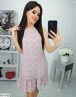 Легкое летнее женское платье полу-приталенного силуэта арт 639