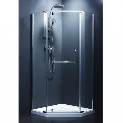 Кабіна душова, п'ятикут. 90х90, без піддона, скло сіре FEN0123G COMFORT, фото 2