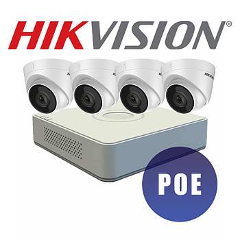 Комплект видеонаблюдения Hikvision. DS-2CD1321-I(E) (2.8 ММ) 2Мп IP видеокамера и Коммутатор DS-7104NI-Q1/4P