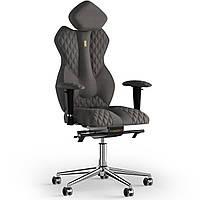 Кресло KULIK SYSTEM ROYAL Ткань с подголовником со строчкой Серебристый 5-901-WS-MC-0505, КОД: 1692665