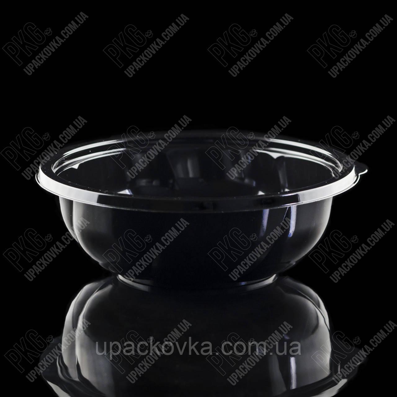 Упаковка для салата без крышки, УК-107, ЧЕРНАЯ, РЕТ, 1000 мл (300 шт/ящ)