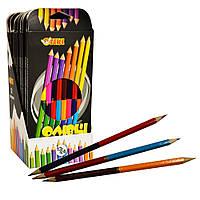 Олівці кольорові двосторонні 24 кольори, набір 12 шт, Тікі