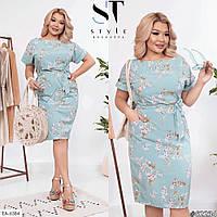 Летнее женское платье до колен большого размера, размеры 50, 52, 54, 56