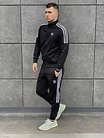 Мужской спортивный  демисезонный костюм Adidas .Олимпийка+штаны черного цвета  Адидас. ТОП качество!!!Реплика.
