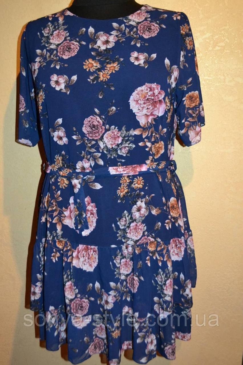 Женское платье  с  поясом   больших размеров
