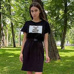 Платье-футболка оверсайз с поясом на карабине черное