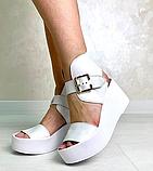 Белые кожаные босоножки на платформе женские Bona Mente, фото 7