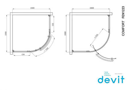 Кабіна душова, 1/4 кола, 100х100, без піддона, скло прозоре FEN1223 COMFORT, фото 2