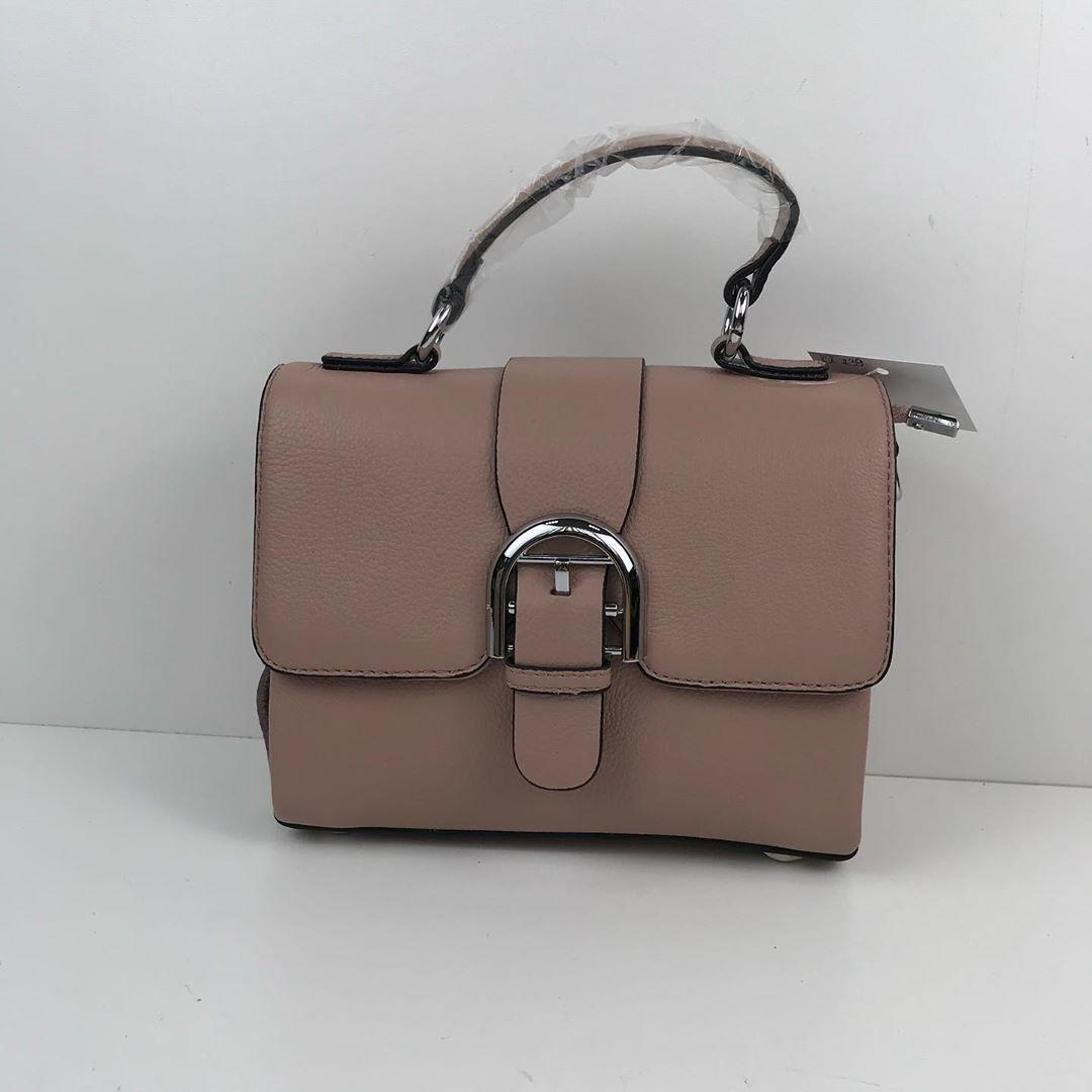 Сумка чемоданчик застежка ремень + ручка / натуральная кожа (239) -с21 Розовый
