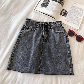 Джинсовая юбка серый